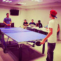 Justin Bieber playing ping pong