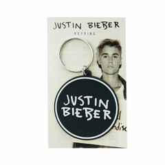 Justin Bieber Black &amp; White Round Keyring<br /><br />Show your love for JB with this cool black and white Justin Bieber keyring. This would also make the perfect gift for any big belieber fan it can be attached to your keys or even your school bag.