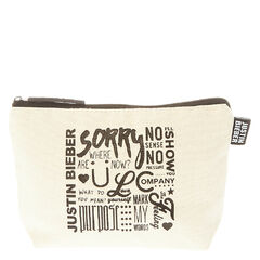 Justin Bieber Lyrics Zip Pouch<br /><br />Keep your every day essentials safe in this Justin Bieber Zip Pouch. This pouch features song titles, lyrics and words all about your favorite, Justin Bieber.