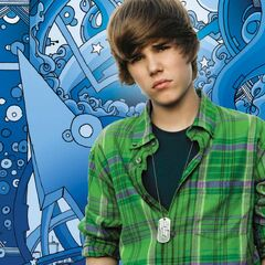 Page 4, with a photo of Bieber in front of an animated ocean background.