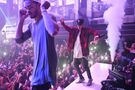 Justin dancing with Maejor at LIV