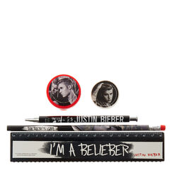 Black &amp; White Justin Bieber Stationery Set<br /><br />Get back to school ready with this cool set of Justine Bieber themed stationery. It is the ultimate addition to your stationery collection and perfect for any Justin Bieber belieber! The set is in black, red and white with fun Justine Bieber designs and it includes; pen, pencil, ruler, rubber and pencil sharpener.