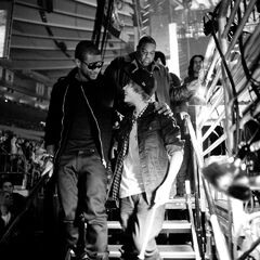 Usher and Justin Bieber walk off the stage at the 2009 Z100's Jingle Ball at Madison Square Garden in New York. It was Bieber's first performance at The Garden.