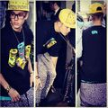 Justin Bieber wears yellow spiked hat