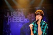 Justin performing at MEN Arena, 24 November 2009