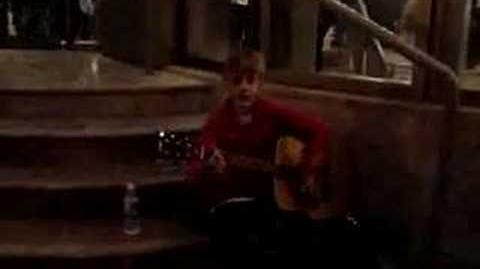 Justin Bieber in Stratford, outside the Avon