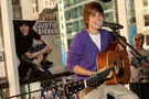 Justin Bieber performing at the Nintendo World Store '09