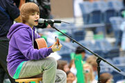 Justin Bieber performs during Arthur Ashe Kids' Day