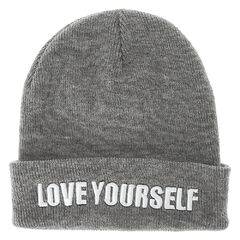 Justin Bieber Love Yourself Gray Knit Beanie Hat<br /><br />This gray knit beanie hat is perfect for any Belieber. The title of his hit song