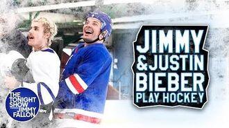 Justin Bieber Teaches Jimmy Fallon How to Play Hockey
