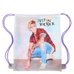 Justin Bieber Purpose Drawstring Backpack<br /><br />Show everyone at school that you're a Belieber with this casual drawstring backpack featuring our favorite popstar himself with his signiture color purple straps.