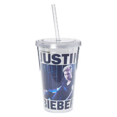 Metallic Justin Bieber Tumbler<br /><br />Have a drink with Justin! This sippy cup features a georgous photo of Justin Bieber on a silver metallic background!