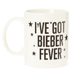 I've Got Bieber Fever Mug<br /><br />The perfect mug for any Justin Bieber fan to sip coffee, tea, or cocoa. 'I've got Bieber Fever' is written in black against a white background. The mug is also decorated with a few black stars.