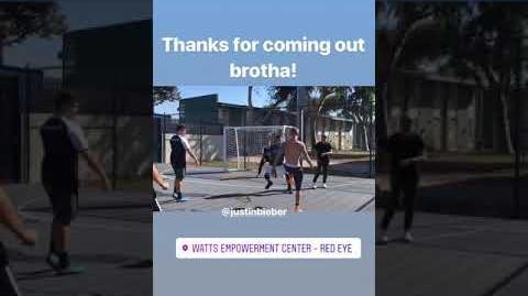 Justin Bieber playing soccer at Watts Empowerment Center