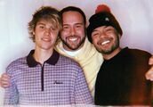 Justin Bieber with Scooter Braun and Alfredo Flores