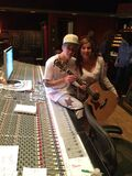 Bieber with a fan in the studio