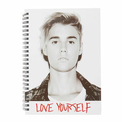 A5 Justin Bieber Love Yourself Notebook<br /><br />Look super cool at school while taking notes with this A5 sized Justin Bieber black and white notebook. It features his hit song 'Love Yourself' written across the front with a large image of Bieber himself. The paper is all lined and features 'I'm a Belieber I'm a Belieber' along the edge.