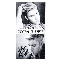 Justin Bieber Black &amp; White Beach Towel<br /><br />Take your favourite popstar with you on holiday with this cool black and white Justin Bieber beach towel. This large towel is 70cm x 140cm featuring two close up images of Bieber himself and the text 'Justin Bieber' and hit song ' What Do You Mean?' written across the front.