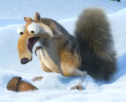 Scrat gasps a nut in the snow