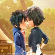 Hiro and Gogo kiss