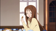 K-ON!-Crisis! - Sawako eating at tea time