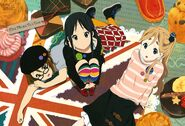 Ritsu, Mio and Mugi with giant sweets