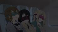 Ritsu, Mio and Mugi sleeping in the airplane