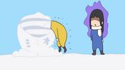 Ritsu kicked into the snow