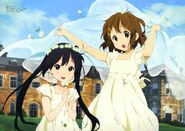 Azusa and Yui in white dresses