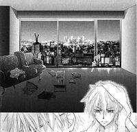 Takumi in his apartment