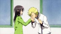 Igarashi kisses Misaki's hand