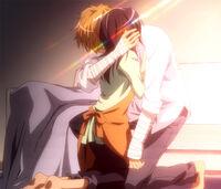 Takumi hugs Misaki
