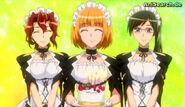 Maids presenting cake