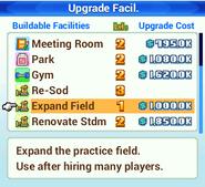 Upgrade Facility Menu - Pocket League Story