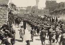 Austrian troops marching up Mt. Zion