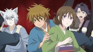 Hideyoshi with Aoi, Hatori, and Ginji