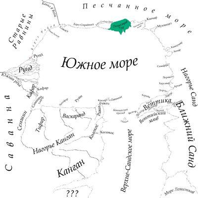 Полуостров Тур на карте Южного моря
