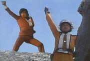 Takeshi Hongo and Shin Hayata in Ultraman vs. Kamen Rider