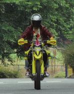 Kiriya Kujo Riding the Bike Gamer