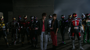 Tsukasa and Haruto with All Riders