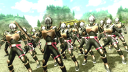 Kamen Rider Diend summons Riotroopers in Battride War Genesis