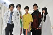Zi-O, Geiz, and Tsukuyomi with Ex-Aid and Brave