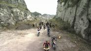Kuuga, Den-O, Faiz, Caucacus and Gattack with riotroopers