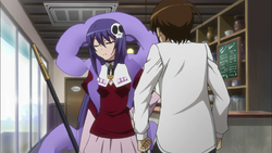 Keima and Haqua making a fault