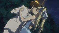 Keima and Mio kisses
