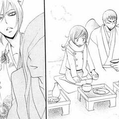 Nanami se sienta junto a Jirou en la celebración.
