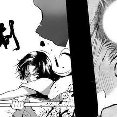 Yukiji eliminando al demonio que se infiltró en su hogar.