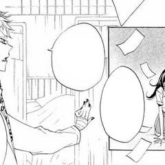 Otohiko advirtiendo a Nanami que no use más talismanes.