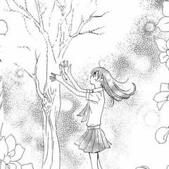 Nanami purificando un árbol de la escuela.