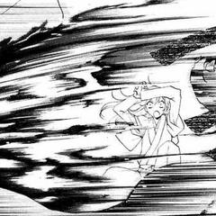 Tomoe salva a Jirou y a Nanami de morir a manos del Raijiuyuu.